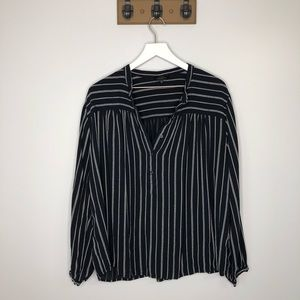 Lucky Brand Navy and White Striped Blouse